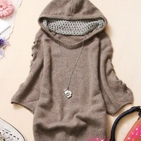Casual & Trendy Hooded Middle-length Sleeve Knitting Sweater----Khaki