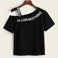 Letter Graphic Asymmetrical Neck Shirt Top Tee