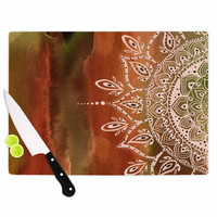 "Li Zamperini ""Autumn Mandala"" Orange Brown Cutting Board"