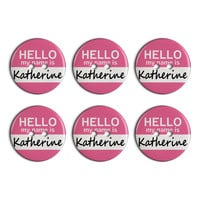 Katherine Hello My Name Is Plastic Resin Button Set of 6
