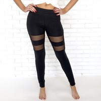 Maddie Mesh Leggings in Black