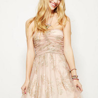 Gold Glitter Mesh Dress - Blush