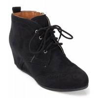 City Classified Swirl Perforated Lace Up Wedge Sneaker Bootie BLACK