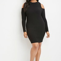 Plus Size Open-Shoulder Ribbed Sweater Dress