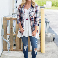 Fall Festival Plaid Top - Rust/Navy/Olive