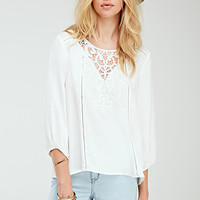 Crochet Overlay Peasant Top