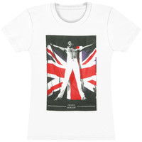 Queen Women's  Freddie Mercury Flag Girls Jr White