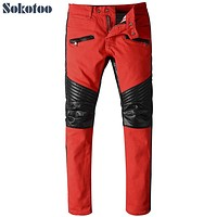 Sokotoo Men's fashion PU faux leather patchwork red biker jeans for moto Casual slim stretch denim pants Long trousers