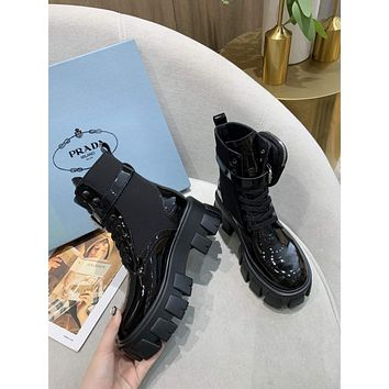 prada trending womens black leather side zip lace up ankle boots shoes high boots