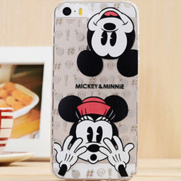 Cute Mickey Mouse & Minnie Mouse Disney Cartoon TPU Transparent Soft Phone Back Case Shell Cover for iPhone 5 5S SE
