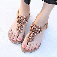 Fashionable Sandals Female Flowers Bohemia Focuses on Big Size Female Shoes