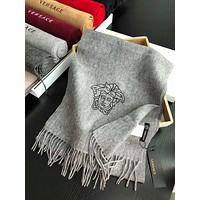 Versace Winter Men Women Simple Tassel Warmer Cashmere Cape Scarf Scarves Shawl Accessories Grey