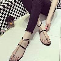 Metal Chain Buckled Flat Thong Sandals