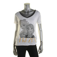 Disney Womens Juniors Frozen Elsa & Anna Burnot Graphic T-Shirt