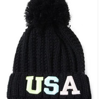 """Black Neon """"USA"""" Patched Pom Top Beanie"""