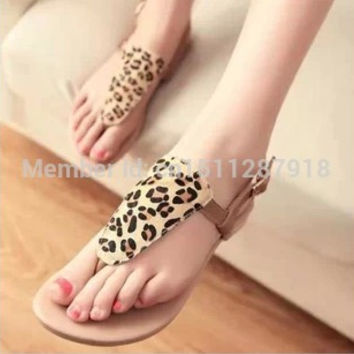 New Fashion Leopard Casual Thong Sandal