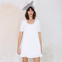 White A-line Loose Short Sleeve Mini Dress