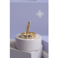 Single Feather Gem Ring Gold / Gold / S-L / W11