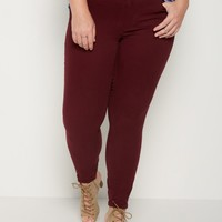 Plus Burgundy Soft Mid Rise Jegging | Plus Pants | rue21