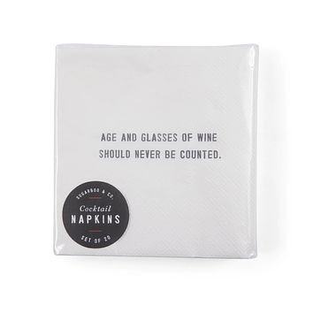"""""""Age and Glasses"""" Cocktail Napkins"""