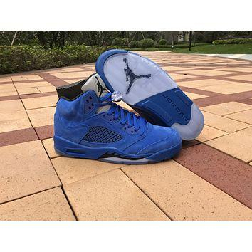 Image of 2017 Air Jordan Retro 5 5S Blue Suede raging bulls Anger Men Basketball Shoes With Silver Gray 3M Reflective Tongue 136027-401