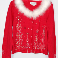 Jack B Quick ~Fancy~ Christmas Sweater Feather Boa Collar Embellished Ice Buttons PT SMALL