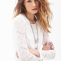 FOREVER 21 Crocheted Crew Neck Top Cream