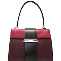 Prada women's leather handbag shopping bag purse bordeaux