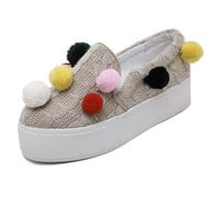Beige Contrast Pom Pom Detail Cable Knit Shoes