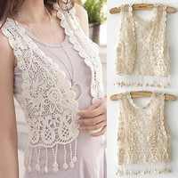 Knitting Sleeveless Girl Crochet Tassel Shrug Top Gilet Waistcoat Cardigan US