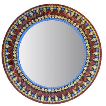 Round Wall Mirror, Mosaic Mirror, Gold Red Blue, Mixed Media Wall Art, Decorative Mirror