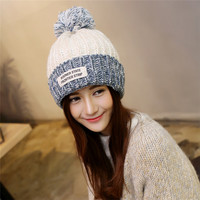 Letter Patch Fur Ball Knit Hat