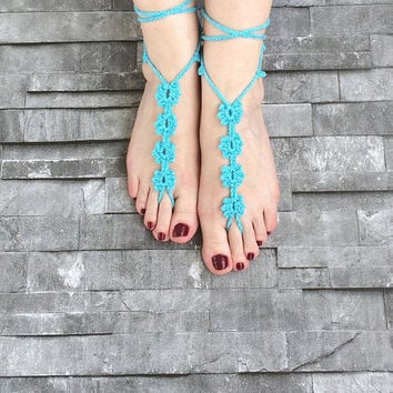 Footless Sandals, Turquoise Sandals, Bridal Foot Jewelry, Barefoot Sandals, Beach Wedding, Boho Crochet Shoes, Bridal Shower Gift, Sexy Shoe