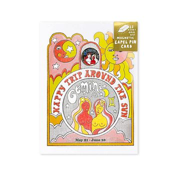 Astrology Birthday Card + Pin Combo - Gemini