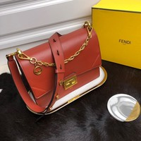 Kuyou Gb99822 Fendi 01181 Kan U Flap Bag In Brown Smooth Leather 25*11*18cm
