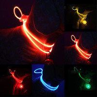 LED Nylon Pet Dog Cat Collar Glow Safety Led Clip Buckle Night Light Flashing Collar Pendant Gift = 1714508612