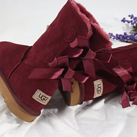 """UGG"" Women male  bow Fashion Wool Snow Boots"