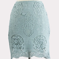 Sage Lace Overlay Skirt
