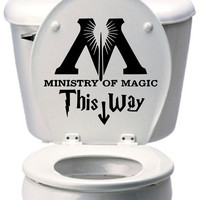 Ministry of Magic This Way Harry Potter Vinyl Removable Wall Decal Toilet