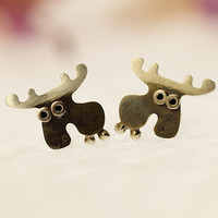 Moose Stud Earrings Sterling Silver Mini Zoo series by karramba