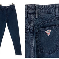 90s Guess Jeans Blue Colored Denim Vintage High Waisted Mom Pants Tapered Leg Faded Grunge Prep Retro 80s Triangle Logo 28 Waist 30 Inseam
