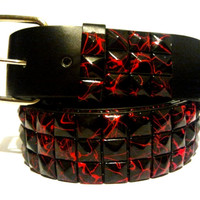 Unisex Gothic Punk Rock EMO Studded 3 Row Metal Pyramid in Leather Belts