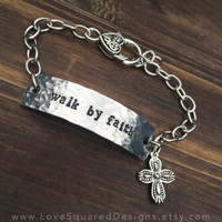 walk by faith stamped metal i.d. bracelet, scripture jewelry, 2 Corinthisns 5:7, bible verse, faith inspired, Christian