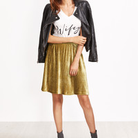 Gold Textured A Line Skirt