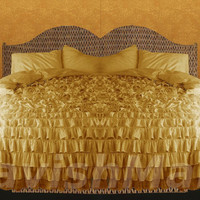 Gold Ruffle Duvet Cover Set 3pc, Egyptian Cotton Bedding 1000 Thread Count