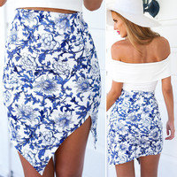 Blue Floral Print Asymmetrical Skirt