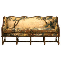 Original Antique French Louis XIII Sofa w/Earlier Aubusson Upholstery