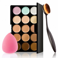 Makeup sets 15 colors concealer Palette + toothbrush type brush+powder puff make up combination kit