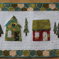 Christmas Tablerunner, Christmas HousesTablerunner, Snow Scene Tablerunner,
