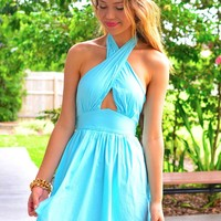 Blue Halter Dress with Cutout Detail & Open Tie Up Bow Back